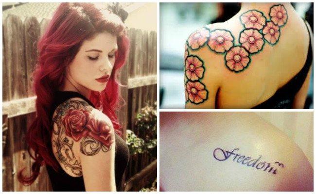 Tatuajes en el hombro de la mujer