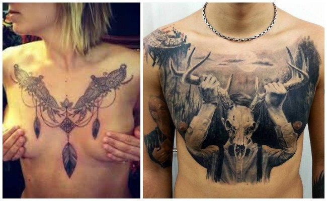 Tatuajes en el pecho de mujer