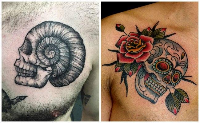 Tatuajes en el pecho, hombro y brazo