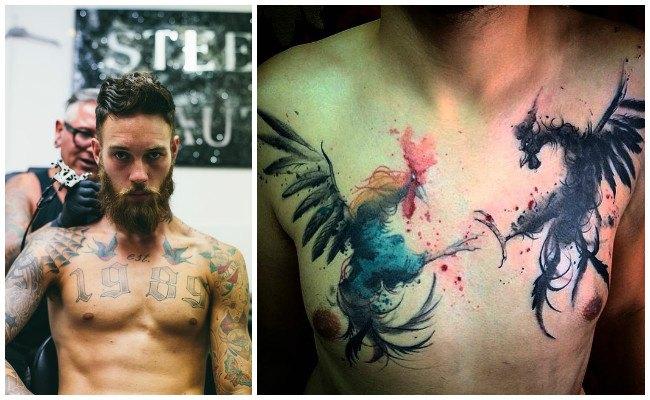 Tatuajes en el pecho con rosas