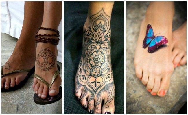 Tatuajes en el pie con mariposas