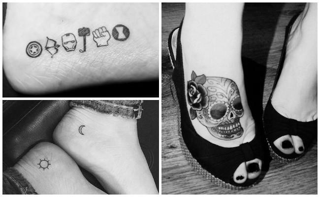 Tatuajes en el pie con plumas