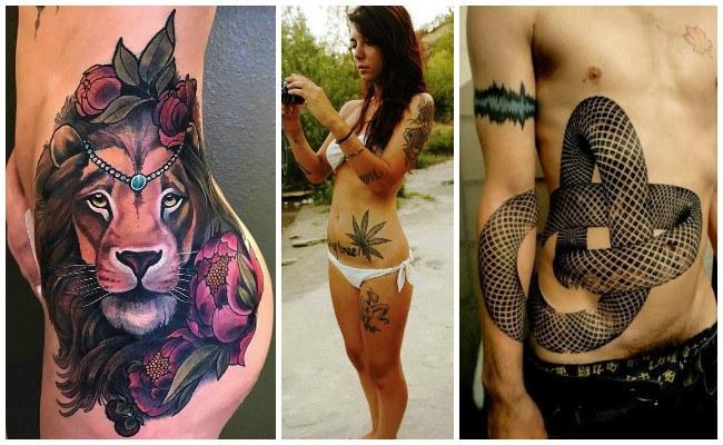 Tatuajes en el vientre con mariposas