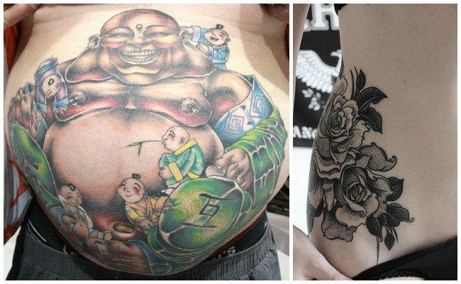 Tatuajes en la cadera con flores