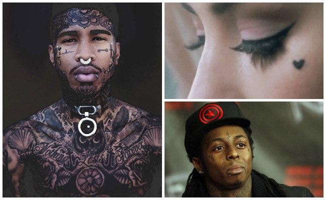 Tatuajes en la cara con cruz