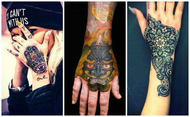 Tatuajes en la mano con flores