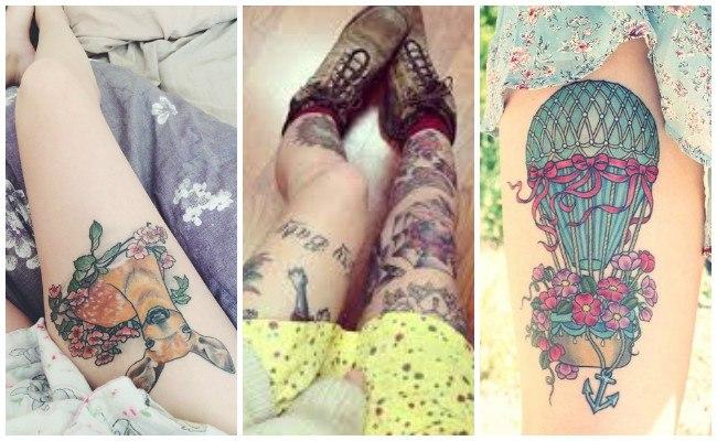 Tatuajes en la pierna con flores