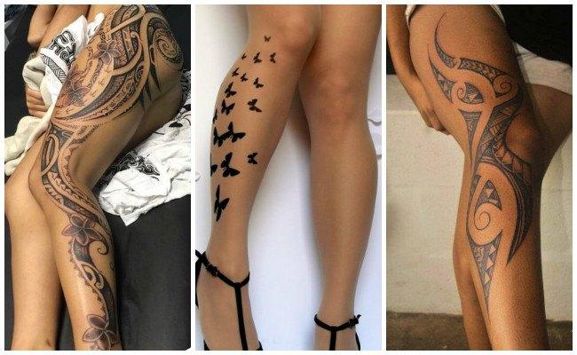 Tatuajes en la pierna con tribales