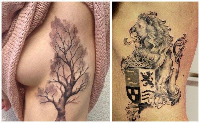 Tatuajes en las costillas de árboles
