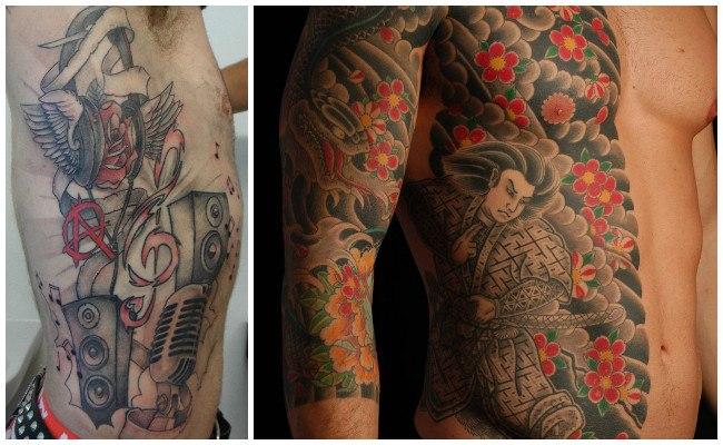 Tatuajes en las costillas con iniciales