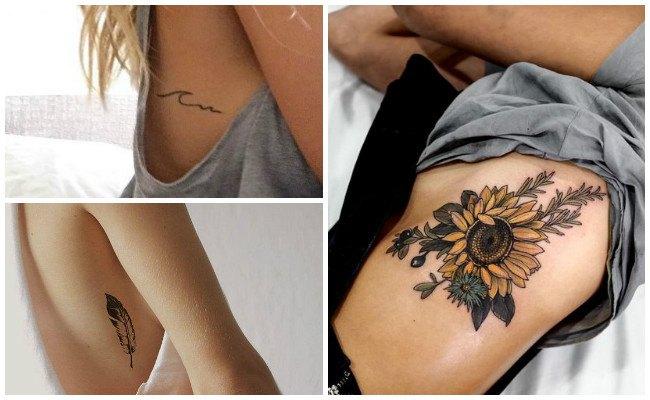 Tatuajes en las costillas con mariposas
