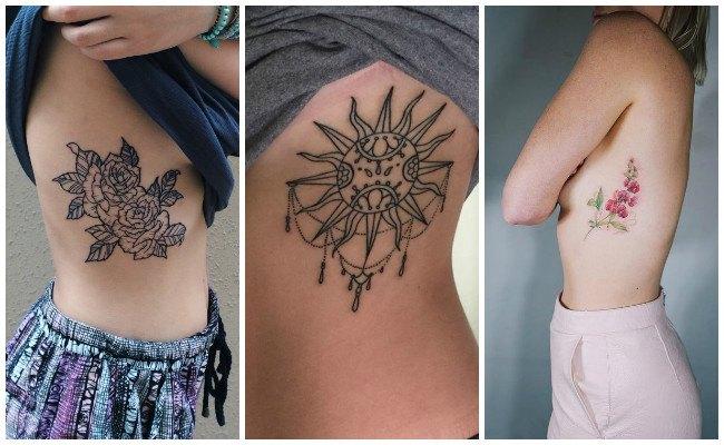 Tatuajes en las costillas de plumas