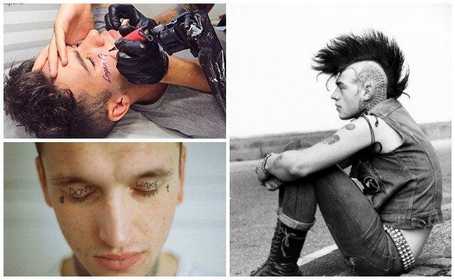 Tatuajes en los ojos del hombre