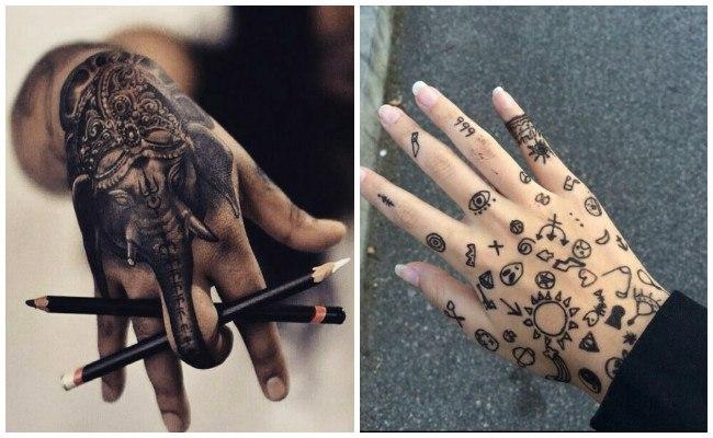 Tatuajes en la mano de tribales
