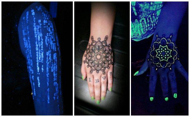 Tatuajes fluorescentes en la mano