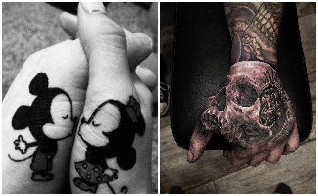 Tatuajes de gaviotas en la mano