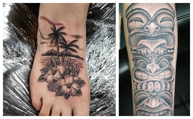 Tatuajes hawaianos con flores