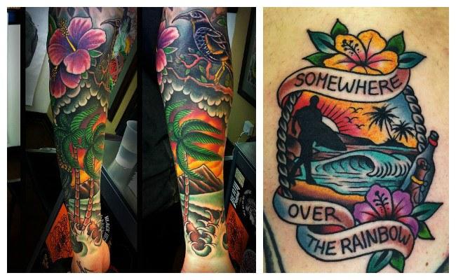 Tatuajes hawaianos de surf