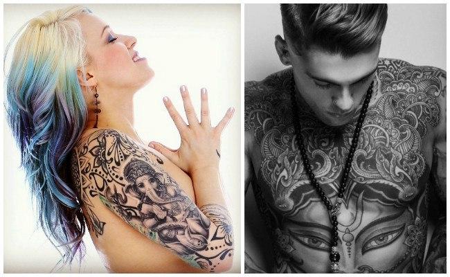 Tatuajes hindúes en la espalda
