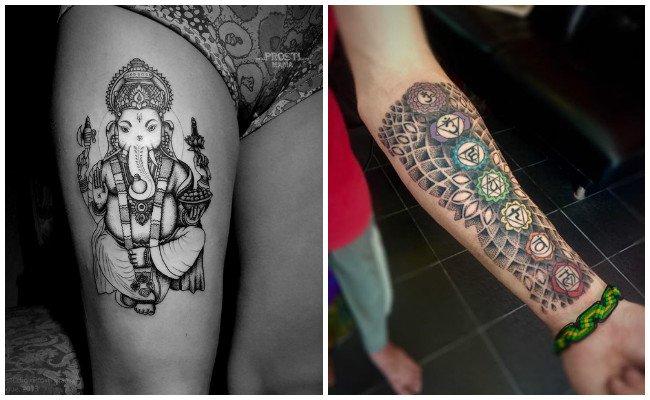 Tatuajes hindúes en las manos de henna