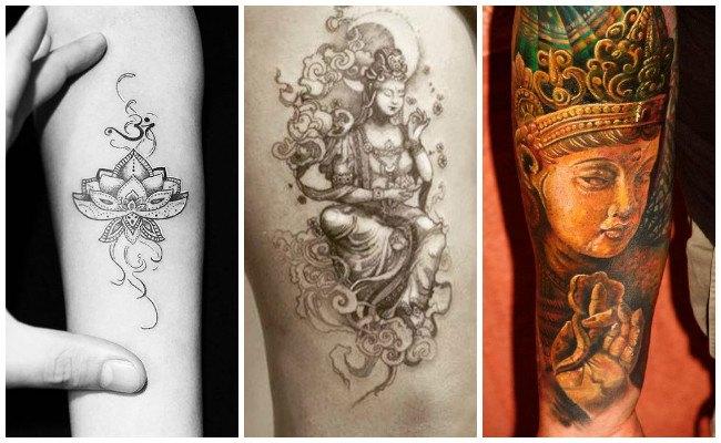 Tatuajes hindúes en la pierna