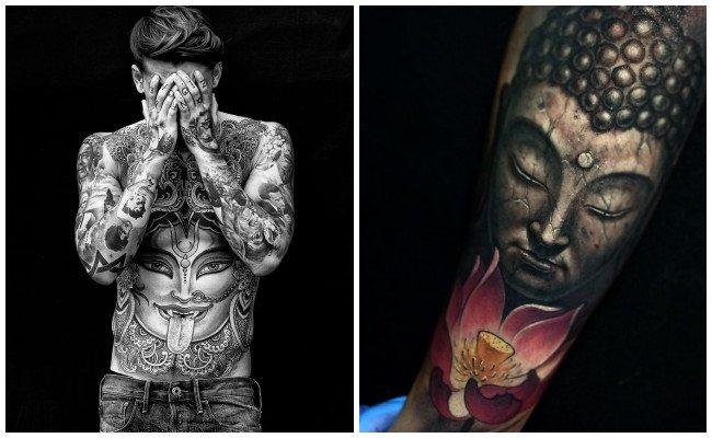 Tatuajes hindúes con puntillismo