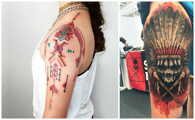 Tatuajes de indios con plumas