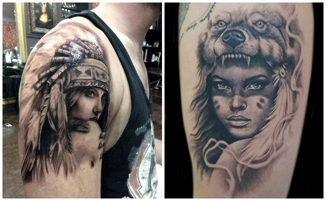 Tatuajes indios en el hombro