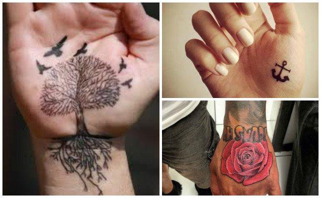 Tatuajes en la mano de rosarios