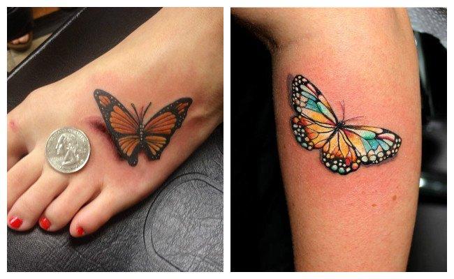 Tatuajes de mariposas en color