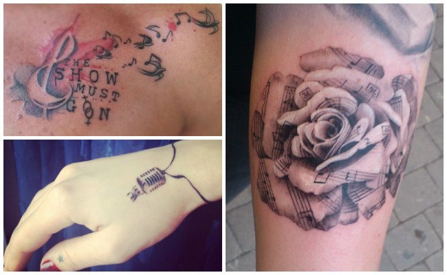 Tatuajes de micrófonos con notas musicales