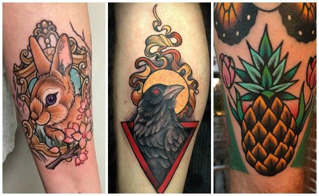 Tatuajes modernos en la espalda