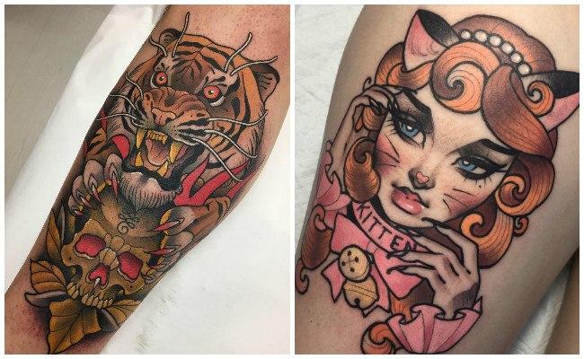 Tatuajes modernos en la pierna