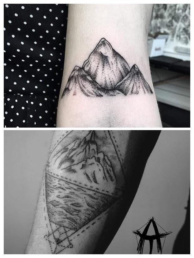 Tatuajes de montañas en el pie