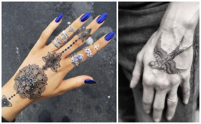 Tatuajes de nombres en la mano