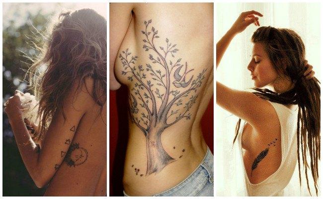 Tatuajes de oraciones en las costillas