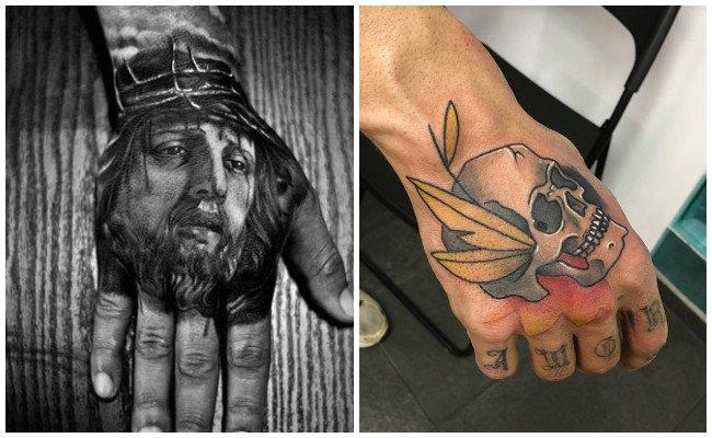 Tatuajes de tijeras en la mano